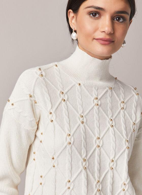 Pull en tricot torsadé et col cheminée , Blanc cassé