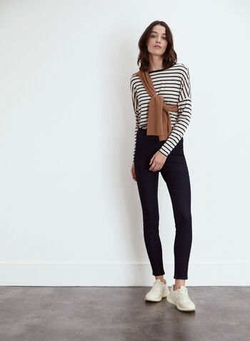 Yoga Jeans - Pull-On High Rise Denim, Blue,  fall 2021, jeans, denim, pants, yoga jeans, pull on, high rise, rachel, slim leg, zipper, button, 5 pocket, tonal stitching, comfy, stretch, soft