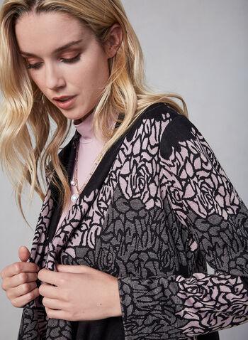 Frank Lyman - Floral Print Cardigan, Black, hi-res,  fall winter 2019, long sleeves, floral print