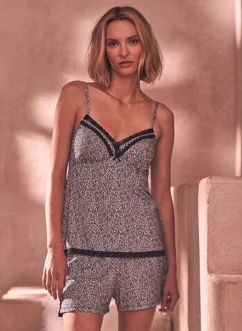 Ensemble pyjama à motif léopard , Noir,  printemps été 2021, pyjama, ensemble, deux pièces, haut, camisole, short, motif, imprimé, léopard, dentelle, bretelles, décolletté, pull-on, à enfiler