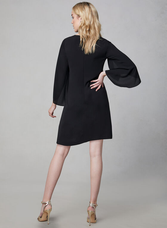 Kensie - Slit Bell Sleeve Dress, Black