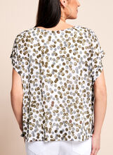 Short Sleeve Dot Print Blouse, Brown, hi-res