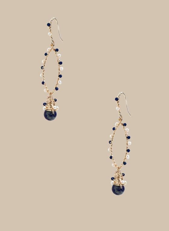 Beaded Wire Dangle Earrings, Blue
