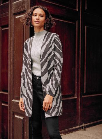 Zebra Motif Open Cardigan, Grey,  fall winter 2021, top, cardigan, sweater, zebra, open, open front, long sleeve, pockets