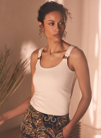 Sleeveless Tortoise Detail Top, Off White,  Spring Summer 2021, cami, tank, tank top, fit, rings