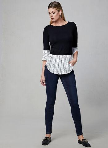 Polka Dot Print Fooler Blouse, Black, hi-res,  ¾ sleeves, spring 2019, stretchy