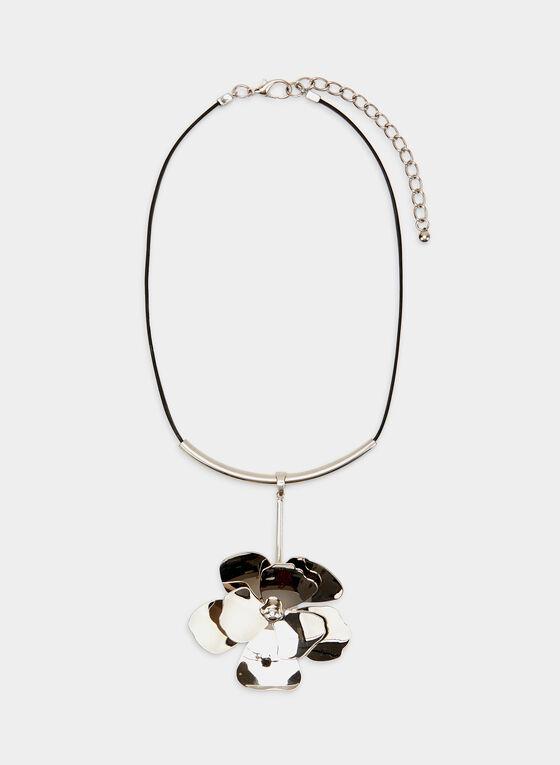 Collier court à fleur métallisée, Noir, hi-res