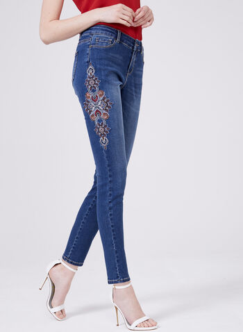 Floral Embroidered Slim Leg Jeans, Blue, hi-res