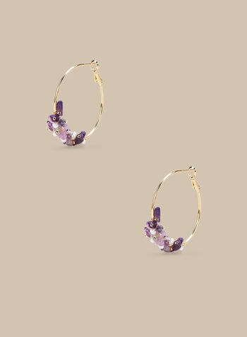 Stone Detail Hoop Earrings , Purple,  earrings, hoops, hoop earrings, rhinestones, stones, spring 2020, summer 2020