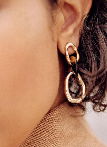 Large Link Dangle Earrings, Brown,  fall winter 2021, earrings, tiered, dangle, misshape, gold metal,