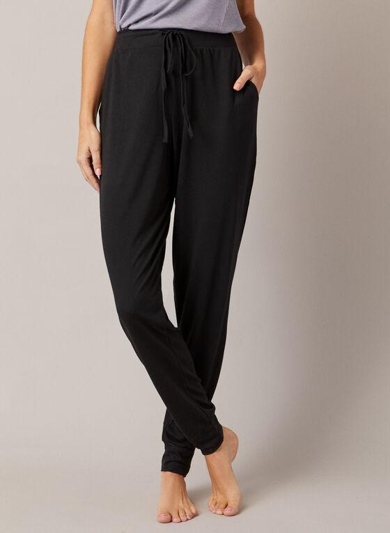 Pantalon détente à cheville élastique, Noir