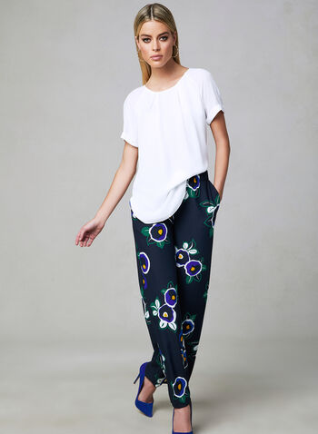 Floral Print Wide Leg Pants, Blue, hi-res