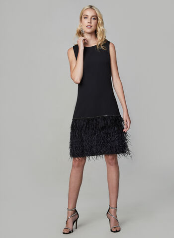 Frank Lyman - Fringe Dress, Black,  fringe, dress, short dress, fringe dress, sleeveless, sleeveless dress, rhinestones, winter 2019, fall 2019