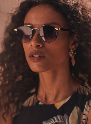 Brow Bar Sunglasses, Black,  accessories, sunglasses, metallic, brow bar, wire, round, spring summer 2021