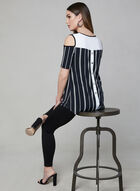 Frank Lyman - Stripe Print Cold Shoulder Top, Black, hi-res