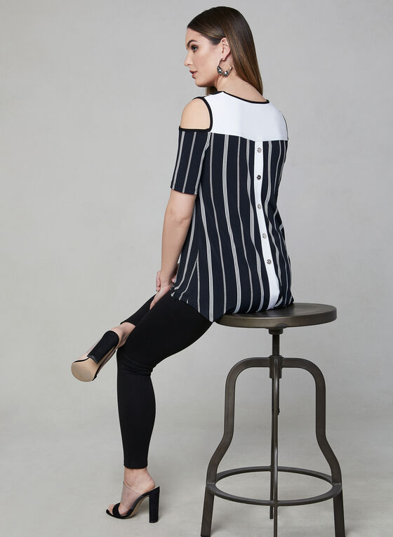 Frank Lyman - Stripe Print Cold Shoulder Top, Black, hi-res