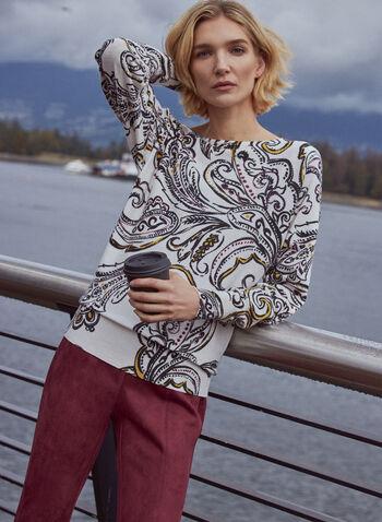 Paisley Print Dolman Sleeve Sweater, White,  fall winter 2020, sweater, pullover, printed, paisley print, scoop neck, long sleeve, dolman, comfort, stretch, blouson, arabesque