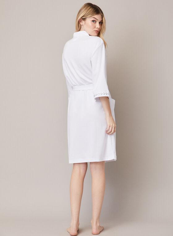 3/4 Sleeve Textured Robe , White