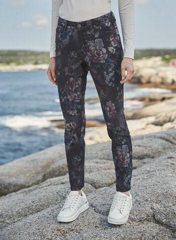 Jean à jambe étroite à motif floral, Noir,  jean, pantalons, jambe étroite, poches, bouton, glissière, ganses pour ceinture, motif floral, denim extensible, automne hiver 2021
