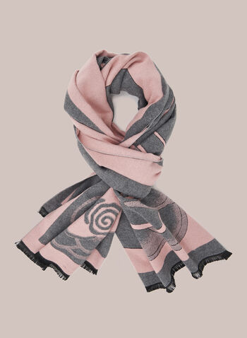 Floral Pattern Reversible Scarf, Pink,  scarf, floral fringe, reversible, fall winter 2020