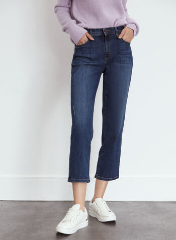 Yoga Jeans - Straight Leg Cropped Denim, Blue,  fall 2021, made in canada, pants, jeans, straight leg, yoga jeans, classic rise, high rise, high waist, cropped, ankle, length, zipper, button, 5 pockets, belt loops, soft, flattering, comfy, denim