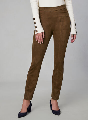 Faux Suede Leggings, Brown, hi-res,  fall winter 2019, faux suede, slim leg, leggings, pull-on
