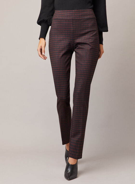 Houndstooth Print Madison Pants, Purple