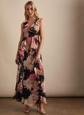 Karl Lagerfeld Paris - Robe fleurie volantée, Bleu,  robe de soirée, mousseline, fleurs, volants, ceinture, sans manches, printemps été 2020