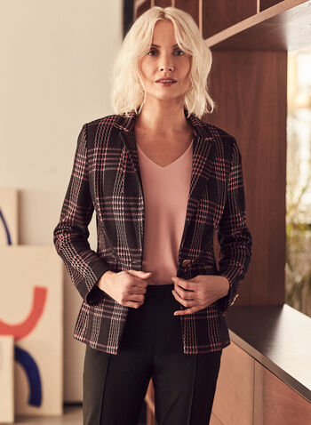 Plaid One-Button Blazer, Black,  blazer, plaid, long sleeves, spring summer 2021