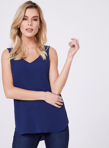 Sleeveless Layered Crepe Top, Blue, hi-res