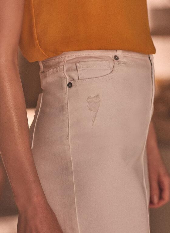 Denim Slit Hemline Skirt, White