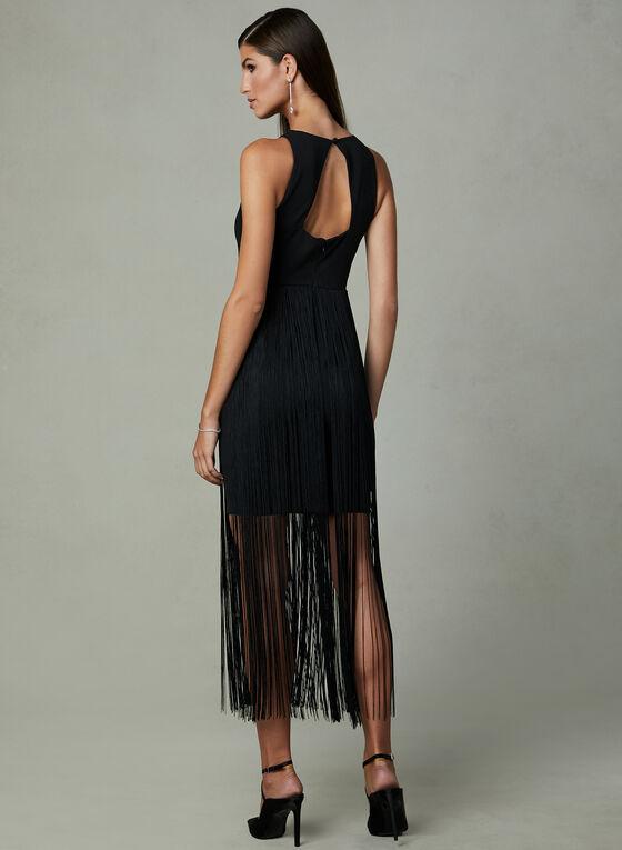 Aidan Mattox - Fringe Overlay Dress, Black, hi-res