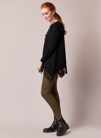 Fringe Hemline Tunic Sweater, Black,  sweater, knit, tunic, asymmetric, fringe, long sleeves, fall winter 2020