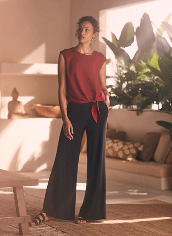 Pantalon palazzo à poches, Noir,  pantalon, pull-on, palazzo, jersey, jambe large, poches, printemps été 2020