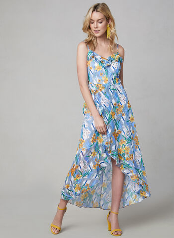 Kensie - Ruffle Dress, Blue, hi-res