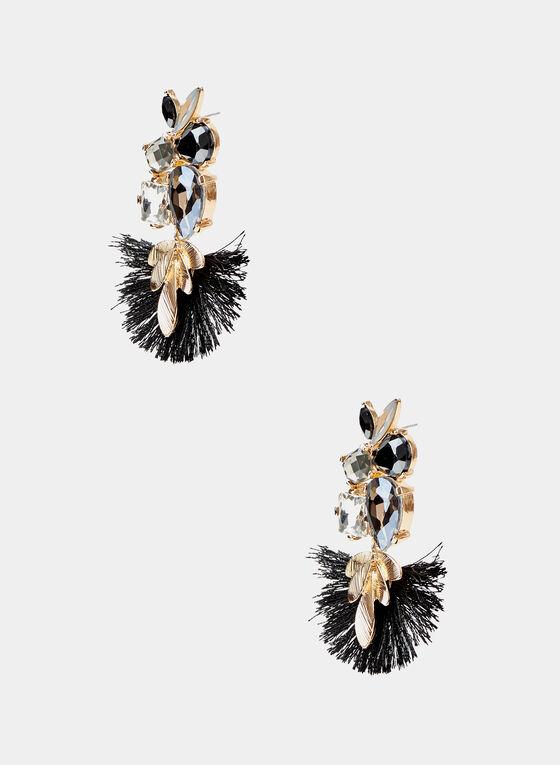 Boucles d'oreilles chandelier à détails feuilles, Noir