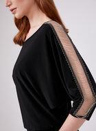 Frank Lyman - ¾ Sleeve Jersey Top, Black, hi-res