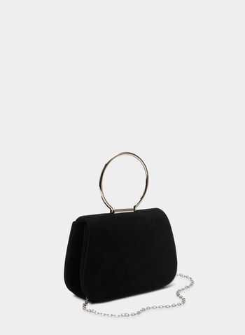 Faux Suede Clutch, Black, hi-res,  clutch, faux suede, faux suede clutch, holiday, fall 2019, winter 2019