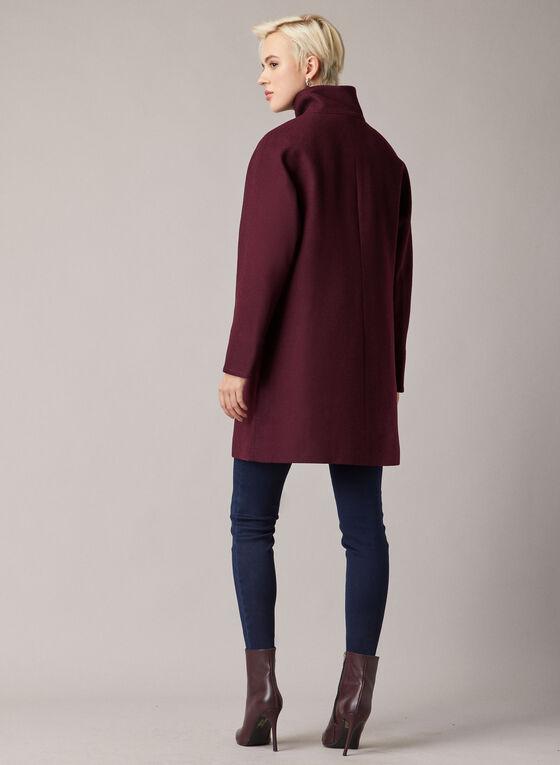 High Collar Wool Blend Coat, Purple