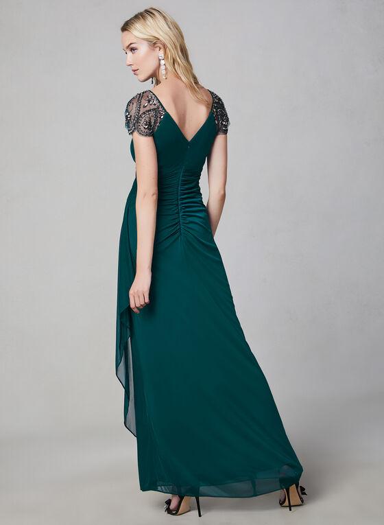 Xscape - Robe longue à manches ornées de billes, Vert, hi-res