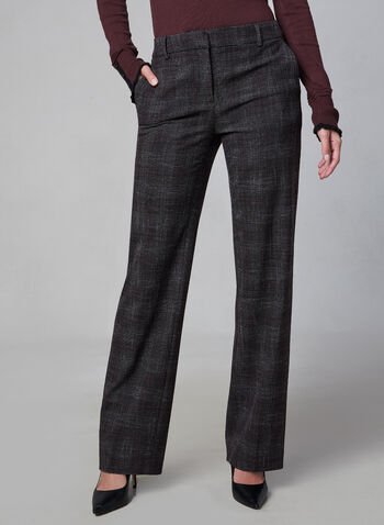 Plaid Print Wide Leg Pants, Grey, hi-res,  wide leg, plaid, suiting, trouser, tailored, fall 2019, winter 2019