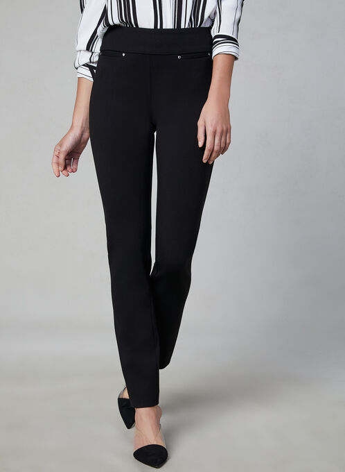 Madison Slim Leg Pants, Black, hi-res