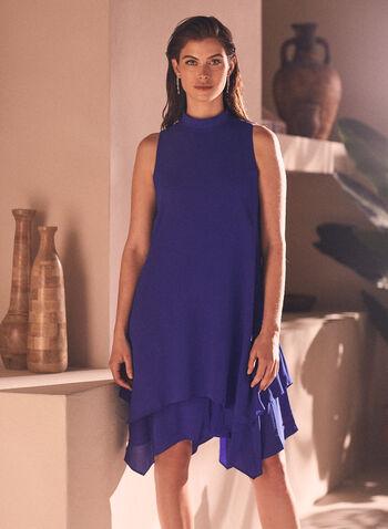 Maggy London - Robe en crêpe à ourlet édenté, Bleu,  robe de jour, sans manches, col montant, crêpe, ourlet édenté, printemps été 2020