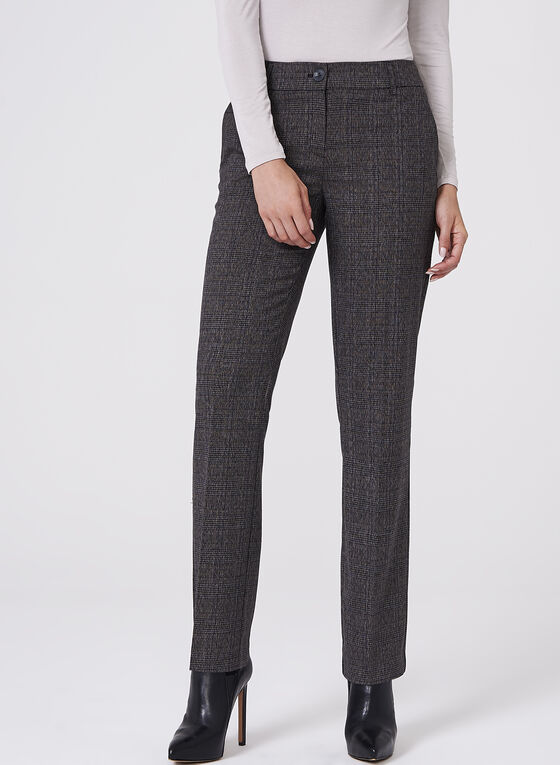 Plaid Straight Leg Pants , Grey, hi-res