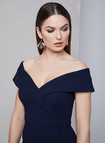 BA Nites - Sweetheart Neckline Midi Dress, Blue,  off-the-shoulder, crepe, high-low, ruffles, faux wrap, spring 2019