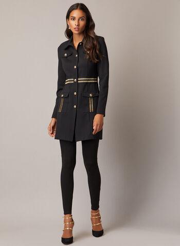 Joseph Ribkoff - Military Button Front Jacket, Black,  jacket, button, military, glitter, fall winter 2020