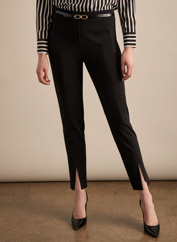 Pantalon pull-on à jambe étroite, Noir,  pantalon, jambe étroite, pull-on, pinces, crêpe, printemps été 2020