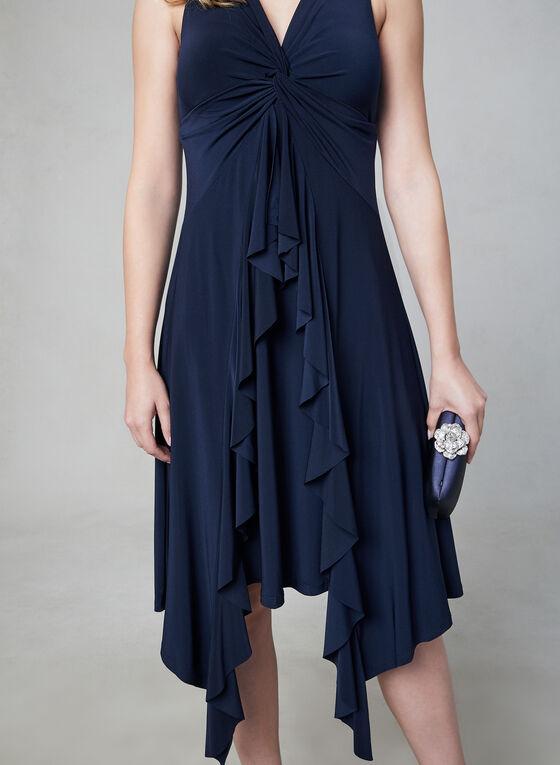 Taylor - Robe drapée sans manches, Bleu