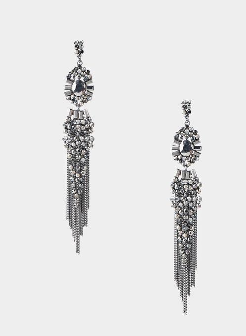 Vintage Chandelier Earrings, Grey