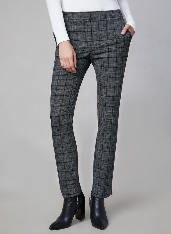 Plaid Print Slim Leg Pants, Grey, hi-res